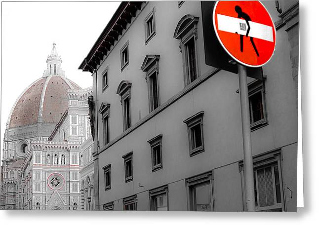 Duomo And Street Humor Greeting Card by Amy Fearn