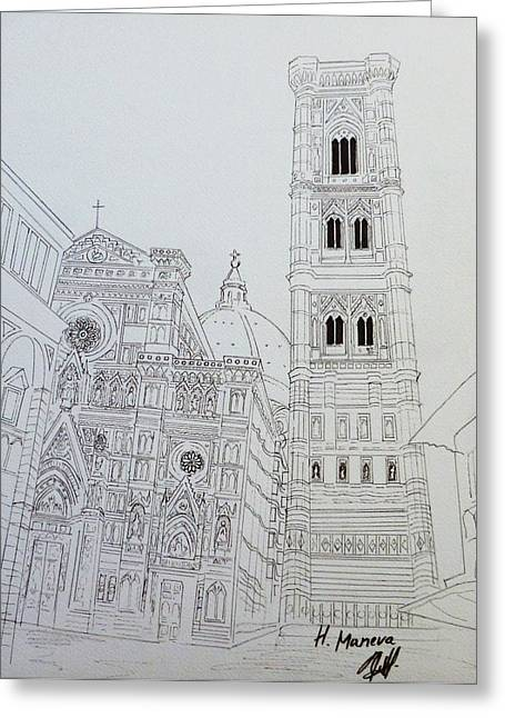 Duomo Florence In Black And White Greeting Card by Henrieta Maneva