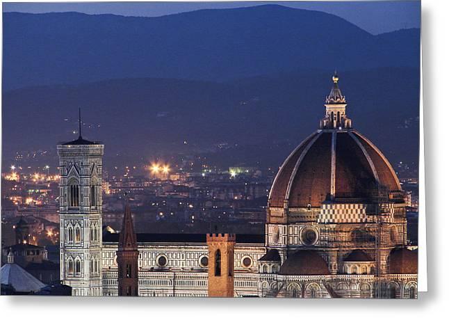 Duomo At Night Florence Italy Greeting Card