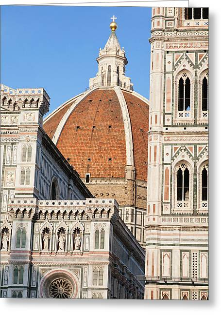 Duomo Santa Maria Del Fiore And Giottos Greeting Card by Panoramic Images