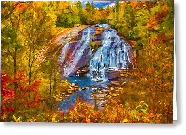 Dupont Forest High Falls In Autumn Greeting Card by John Haldane