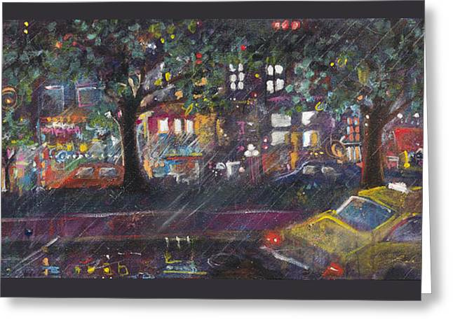 Dupont In The Rain Greeting Card by Leela Payne