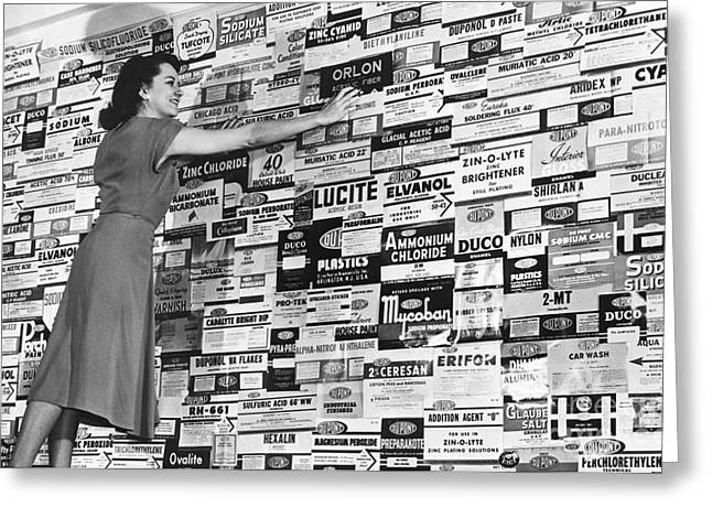 Dupont Products Label Display, 1940s Greeting Card
