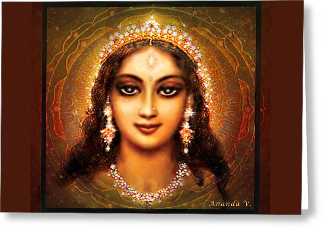 Durga In The Sri Yantra - Dark Greeting Card by Ananda Vdovic