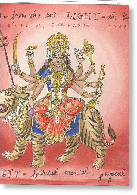 Durga Greeting Card by Jennifer Mazzucco
