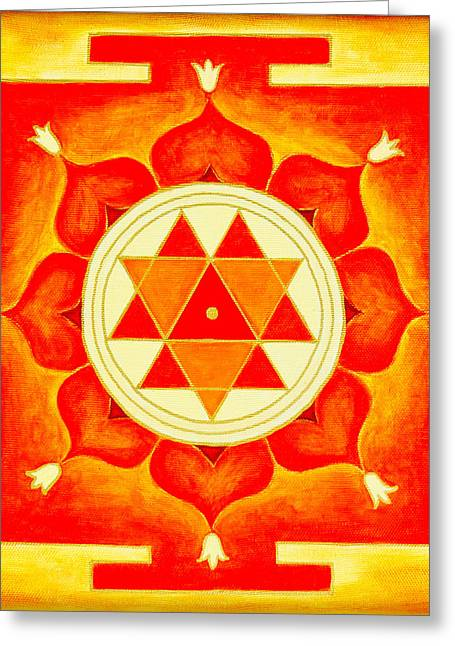 Greeting Card featuring the photograph Durga Yantra Is A Powerful Yantra For Transformation Of Consciousness by Raimond Klavins