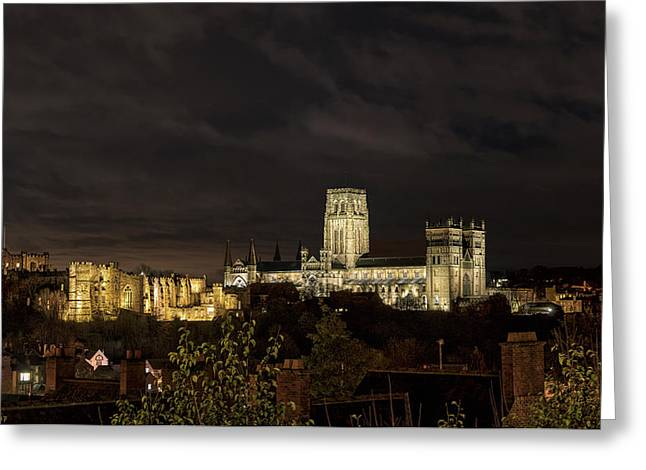Durham Cathedral And Castle Illuminated Greeting Card by John Short