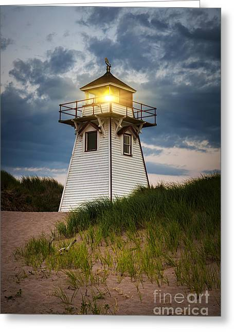 Dusk At Covehead Harbour Lighthouse Greeting Card