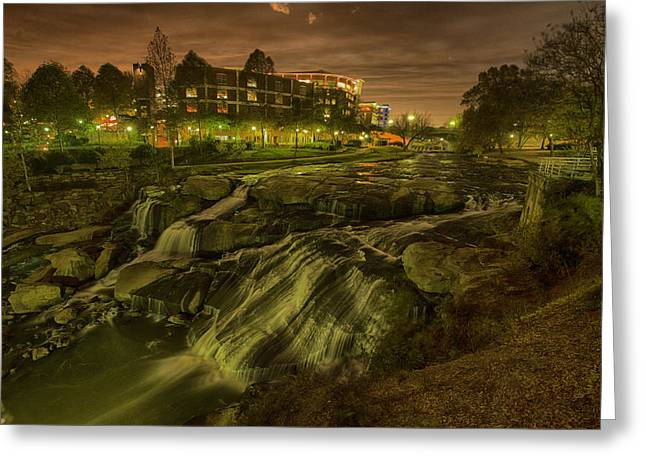 Dusk At Falls Park Greenville Sc Greeting Card by Joel Corley