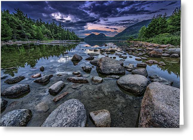 Dusk At Jordan Pond Greeting Card by Rick Berk