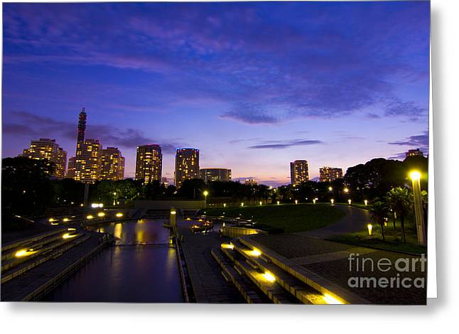 Dusk At Rinko Park In Yokohama Greeting Card
