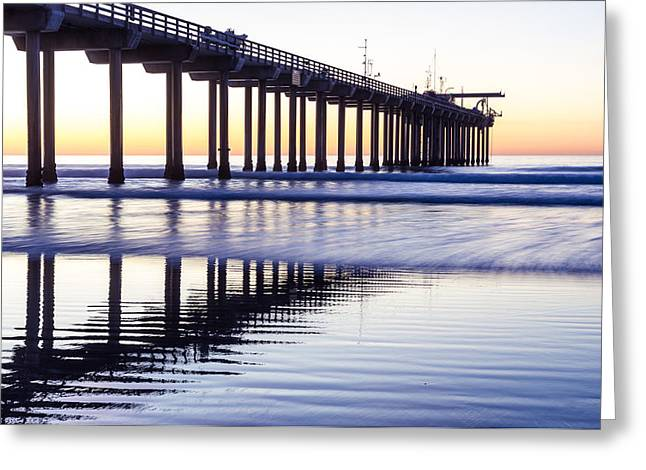 Dusk At Scripps Pier Greeting Card
