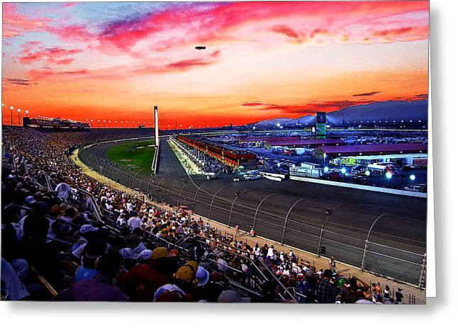 Dusk At The Racetrack Greeting Card by Wayne Wood