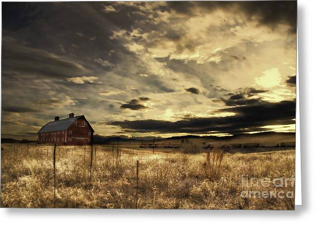 Dusk At The Red Barn Greeting Card