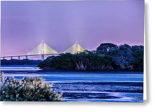 Dusk At The Skyway Bridge Greeting Card