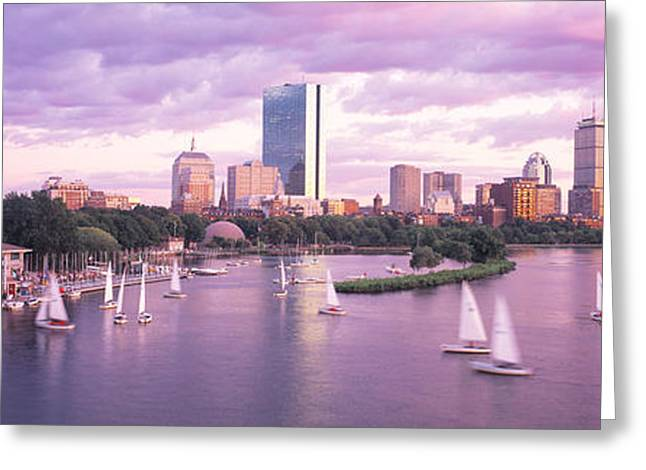Dusk Boston Ma Greeting Card by Panoramic Images