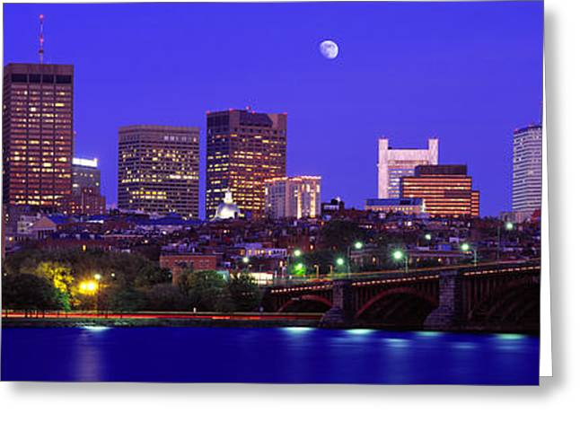 Dusk Charles River Boston Ma Usa Greeting Card by Panoramic Images