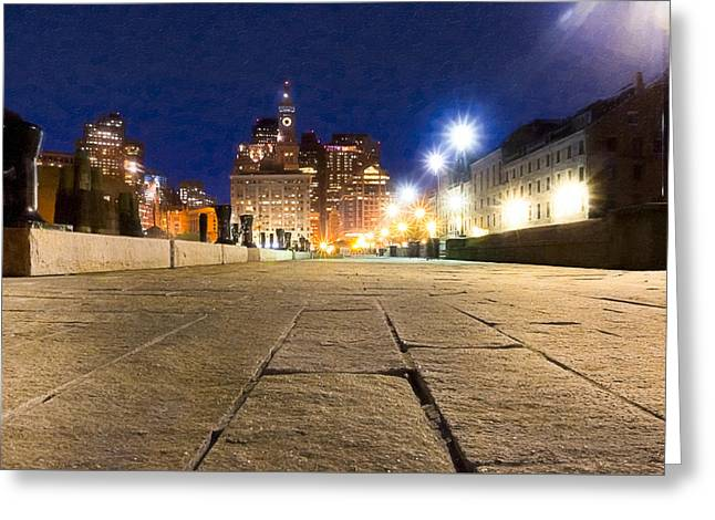 Dusk Falls On Boston's Long Wharf Greeting Card by Mark E Tisdale