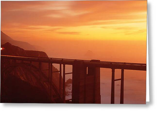 Dusk Hwy 1 W Bixby Bridge Big Sur Ca Usa Greeting Card by Panoramic Images