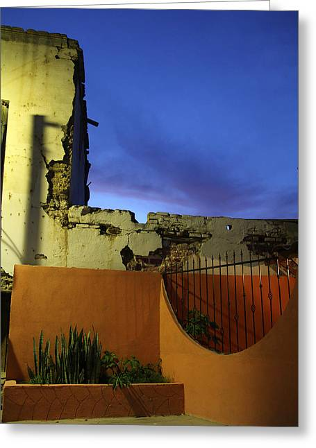 Dusk In San Ignacio Greeting Card by Linda Queally