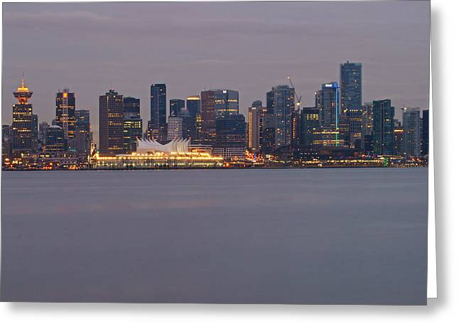 Dusk In Vancouver Greeting Card by Ann  Badjura