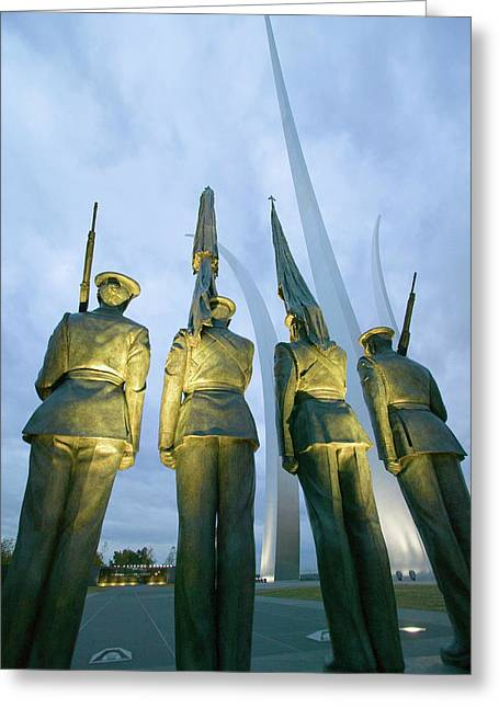 Dusk Light Behind Bronze Honor Guard Greeting Card