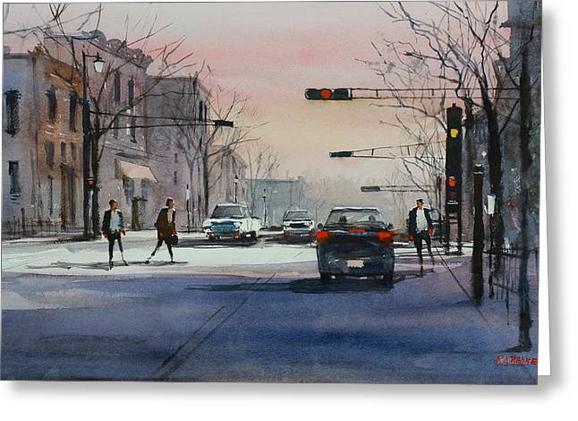 Dusk On Main Street - Fond Du Lac Greeting Card by Ryan Radke