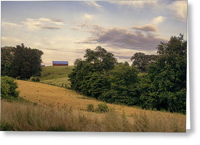 Dusk On The Farm Greeting Card by Heather Applegate