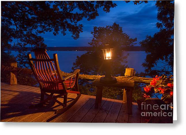 Dusk On The Lake Greeting Card by Michele Steffey