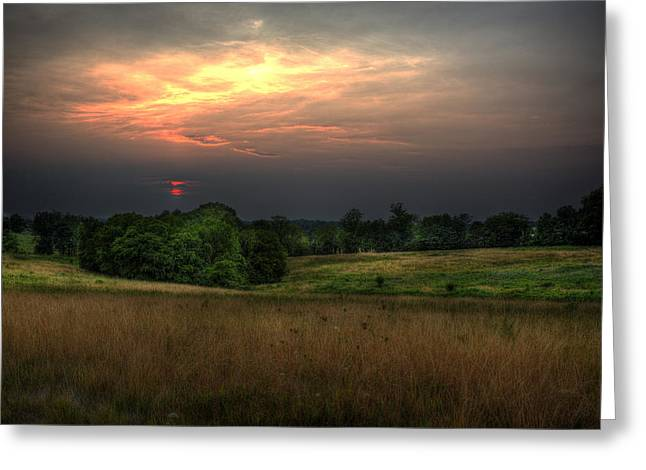 Dusk On The Meadow Greeting Card by William Fields