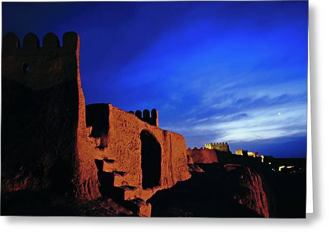 Dusk Over Bam Citadel Greeting Card by Babak Tafreshi