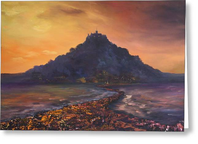 Greeting Card featuring the painting Dusk Over St Michaels Mount Cornwall by Jean Walker