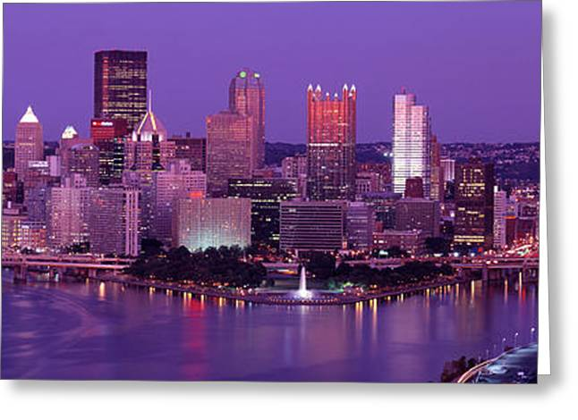 Dusk Pittsburgh Pa Usa Greeting Card by Panoramic Images