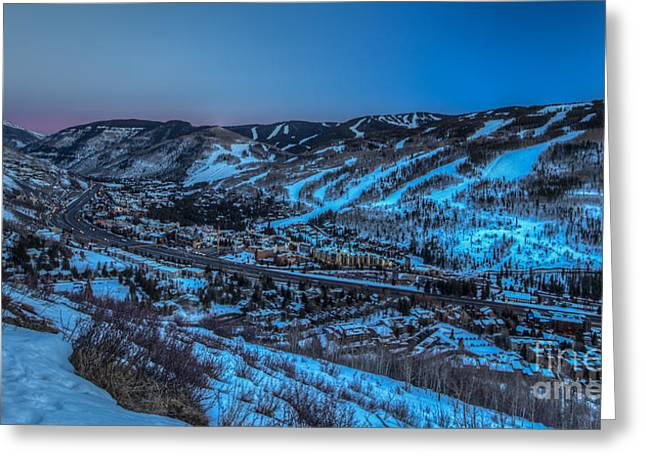Dusk Setting In The Vail Valley Greeting Card