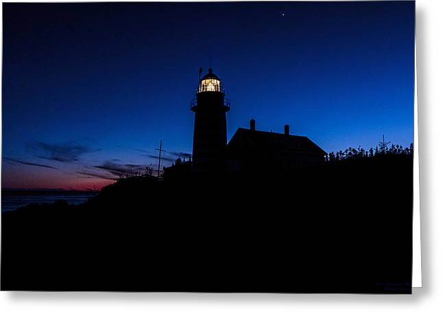 Dusk Silhouette At West Quoddy Head Lighthouse Greeting Card by Marty Saccone