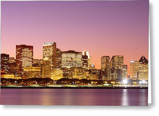 Dusk Skyline Chicago Il Usa Greeting Card by Panoramic Images
