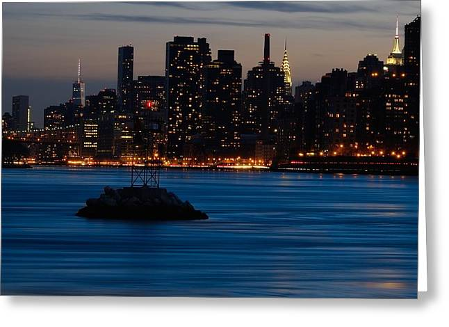 Dusky Nyc Skyline Greeting Card by Mark Garbowski