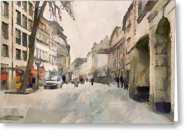 Dusseldorf Old Town Street 1 Greeting Card by Yury Malkov