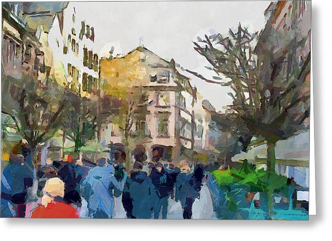 Dusseldorf Old Town Street 4 Greeting Card by Yury Malkov