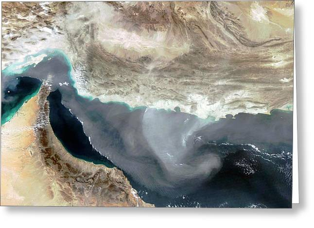 Dust Storm Over Iran Greeting Card