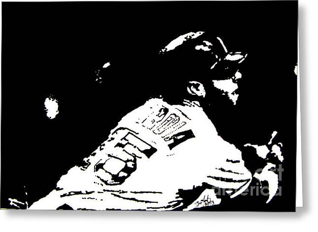 Dustin Pedroia Drawing Greeting Card by Rob Monte