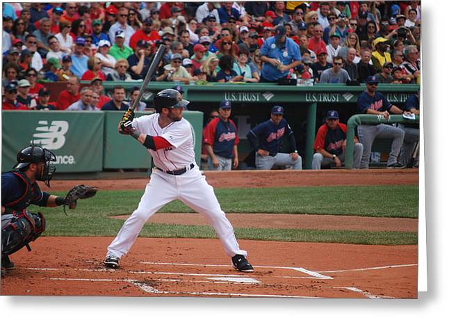Dustin Pedroia Of The Red Sox Greeting Card by Alan Holbrook