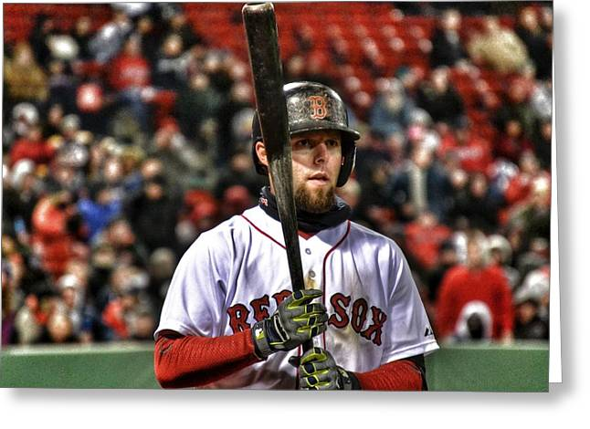 Dustin Pedroia Greeting Card by SoxyGal Photography