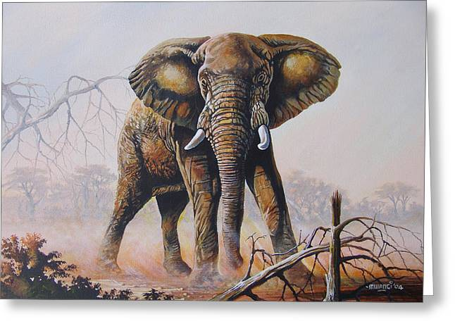 Greeting Card featuring the painting Dusty Jumbo by Anthony Mwangi