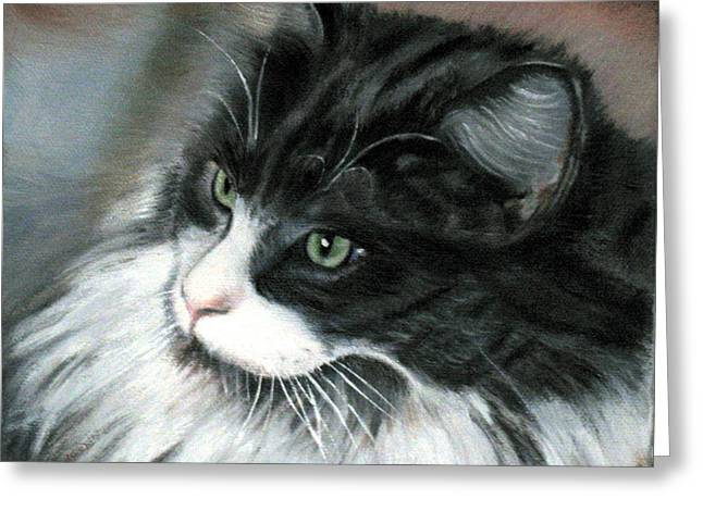 Greeting Card featuring the painting Dusty  by LaVonne Hand