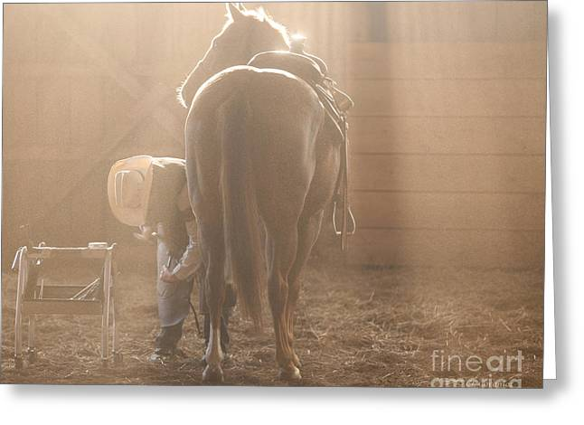 Dusty Morning Pedicure Greeting Card by Carol Lynn Coronios