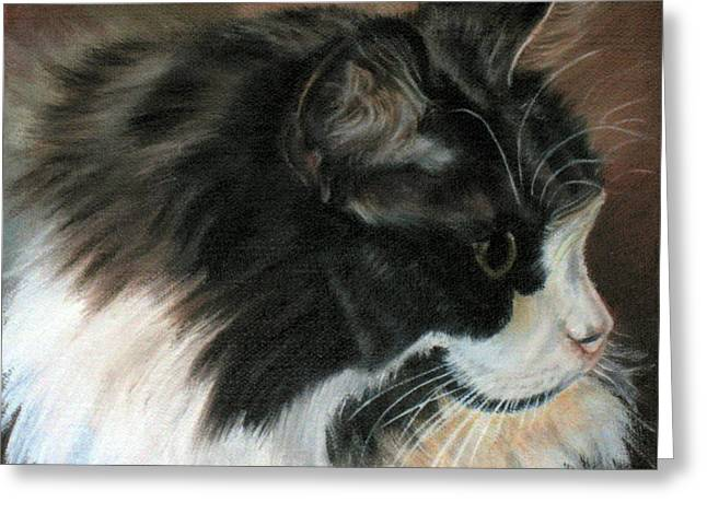 Greeting Card featuring the painting Dusty Our Handsome Norwegian Forest Kitty by LaVonne Hand