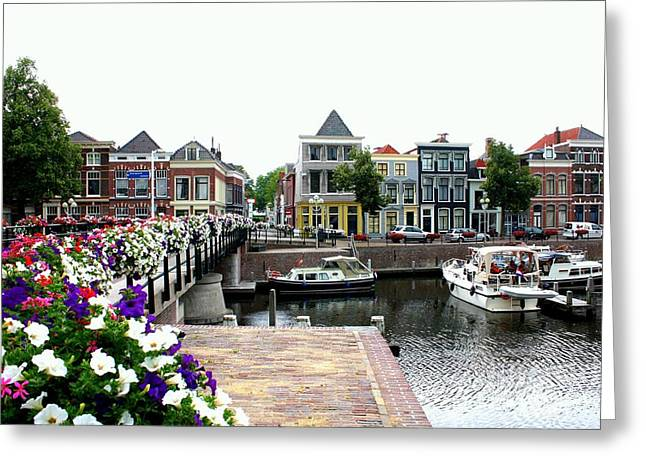 Dutch Cityscape With Boats Greeting Card by Carol Groenen