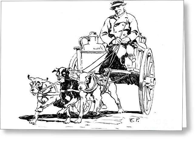 Dutch Dog Cart 1884 Greeting Card