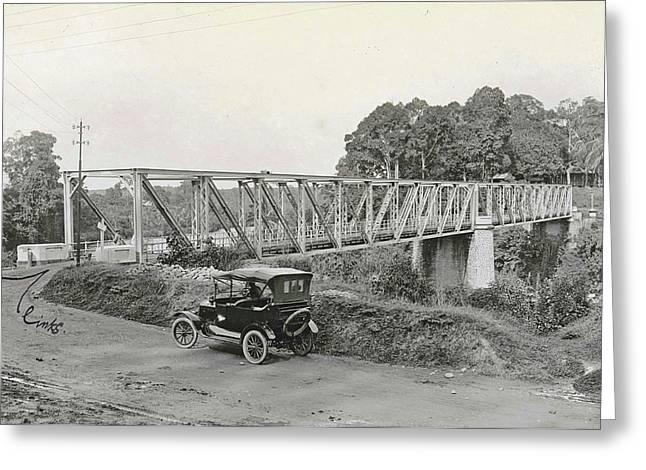 Dutch East Indies, Indonesia, Bridge Over Batang Toro Car Greeting Card